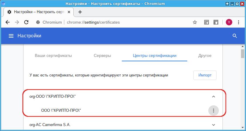 Корневой сертификат в Chromium