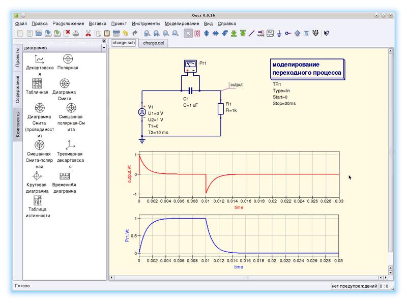 Заряд конденсатора в программе